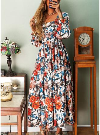 Floral Print A-line Square Neck Long Sleeves Maxi Elegant Skater Dresses