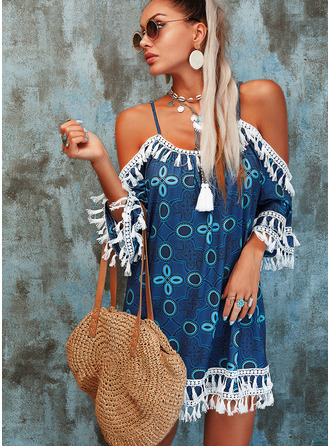 Lace Print Tassel Shift Cold Shoulder 3/4 Sleeves Midi Casual Vacation Tunic Dresses