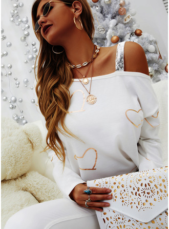 Regular Cotton Blends One Shoulder Print Sequins Heart Fitted Blouses
