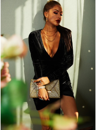 Solid Bodycon V-Neck Long Sleeves Midi Little Black Party Sexy Dresses