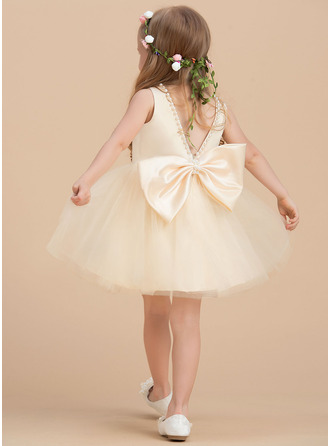 A-Line Knee-length Flower Girl Dress - Satin/Tulle Sleeveless Scoop Neck With Beading
