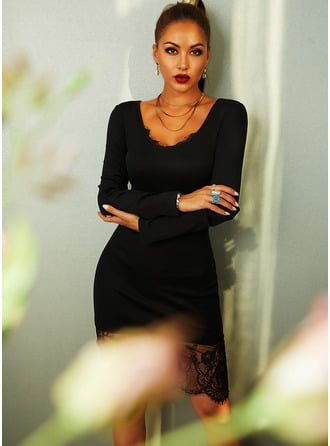 Lace Solid Bodycon V-Neck Long Sleeves Midi Elegant Little Black Party Pencil Dresses