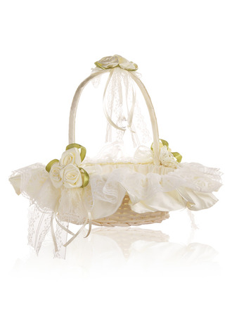 Flower Girl Satin Flower Basket With Bow