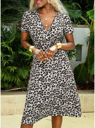 Leopard V-Neck Short Sleeves Midi Dresses