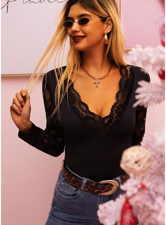 Regelmessig Polyester V-hals Blonder Solid Montert Bluser
