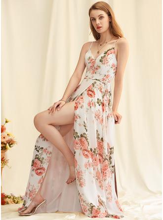 Floral Print V-Neck Sleeveless Maxi Dresses