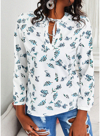 Regular Cotton Blends V-Neck Floral Print Fitted Blouses