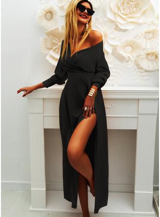 Solid V-Neck Long Sleeves Midi Dresses