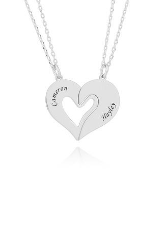 Personlig sølv Knust Hjerte Gravert halsbånd - Bursdagsgaver Morsdag Gaver