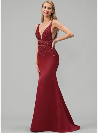 Trumpet/Mermaid V-neck Sweep Train Satin Prom Dresses With Lace Beading