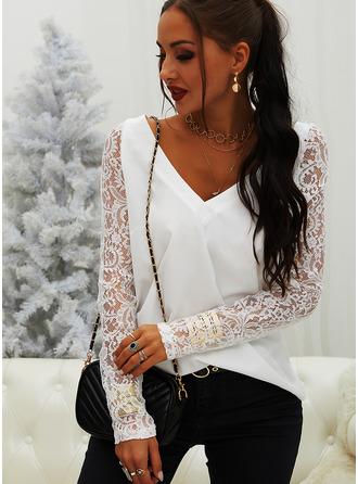 Regular Cotton Blends V-Neck Lace 3XL L S M XL XXL Blouses