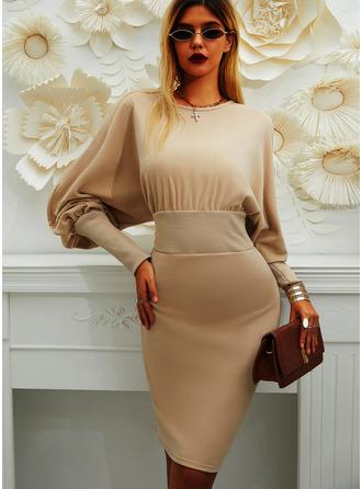 Solid Round Neck Long Sleeves Lantern Sleeve Midi Dresses