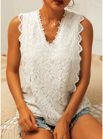 Regular Polyester V-Neck Lace Solid 3XL 4XL 5XL L S M XL XXL Blouses