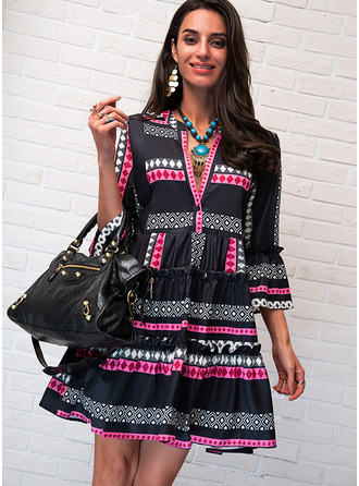 Print Shift V-Neck Long Sleeves Flare Sleeve Midi Casual Tunic Dresses