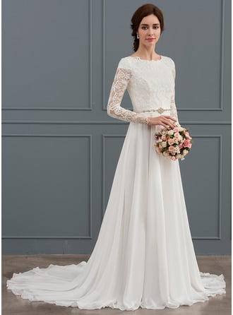 A-Line/Princess Scoop Neck Court Train Chiffon Wedding Dress With Beading