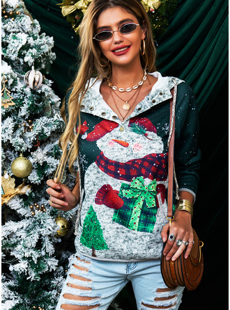 Long Sleeves Regular Christmas Print Pockets Christmas Sweatshirt