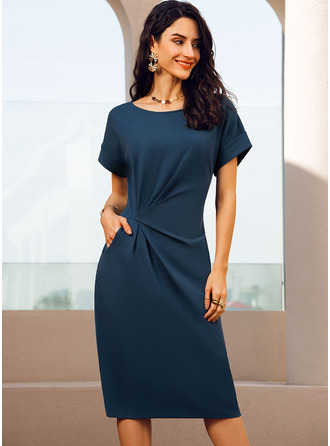 Round Neck Short Sleeves Bodycon Midi Dresses