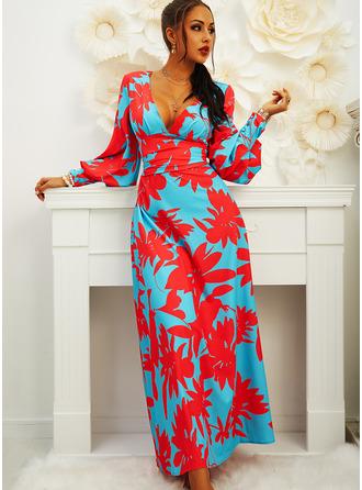 Floral Print Sheath V-Neck Long Sleeves Lantern Sleeve Maxi Elegant Party Dresses