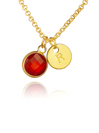 Initial Necklace With Birthstone - Birthday Gifts