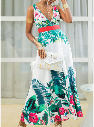 Floral Print A-line V-Neck Sleeveless Maxi Party Vacation Skater Dresses