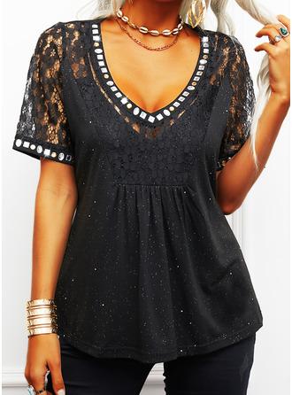 Regular Cotton Blends V-Neck Lace Print Sequins Fitted Blouses