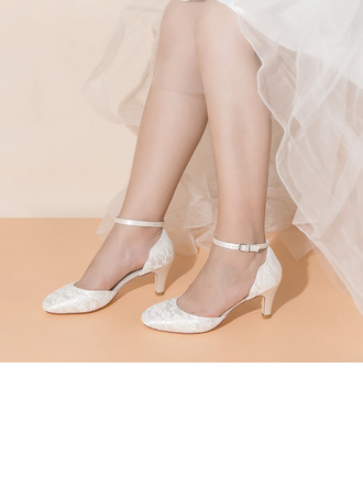 Women's Lace Silk Like Satin Low Heel Closed Toe With Buckle