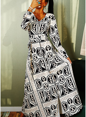 Trykk A-line kjole V-hals Lange ermer Maxi vintage stil skater Motekjoler