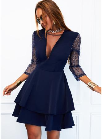 Sequins Solid A-line V-Neck Long Sleeves Midi Elegant Skater Dresses