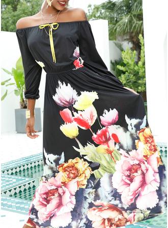 Blomstrete Trykk A-line kjole Bare skuldre 1/2-ermer Maxi Elegant Party skater Motekjoler