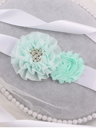 Blomsterjente Polyester Bånd med Blomst/Imitert Perle
