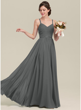 A-Line Sweetheart Floor-Length Chiffon Lace Bridesmaid Dress With Ruffle