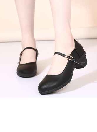 Women's Microfiber Leather Heels Latin Modern Character Shoes With Ankle Strap Dance Shoes