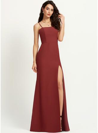 Sheath/Column Square Neckline Floor-Length Bridesmaid Dress With Split Front