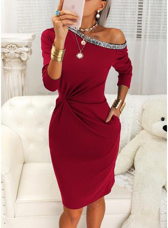 Sequins Solid Bodycon One Shoulder Long Sleeves Midi Elegant Little Black Pencil Dresses