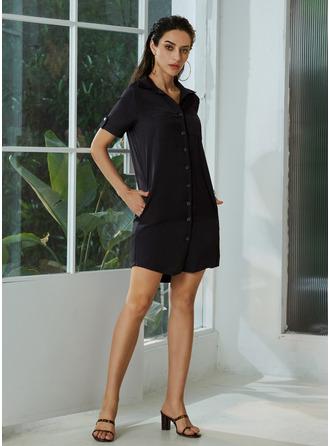 V-Neck Short Sleeves Mini Dresses
