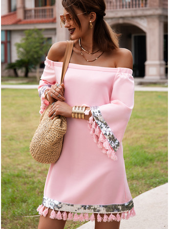 Solid Shift Off the Shoulder 3/4 Sleeves Midi Casual Vacation Tunic Dresses