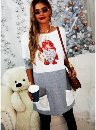 Round Neck Long Sleeves Regular Christmas Color Block Print Christmas Sweatshirt