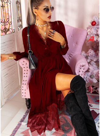 Lace Solid A-line V-Neck Long Sleeves Midi Casual Little Black Skater Dresses
