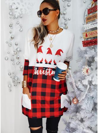 Round Neck Long Sleeves Regular Plaid Print Pockets Figure Christmas Sweatshirt
