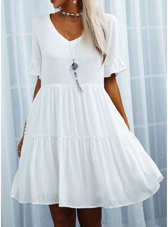 Solid Shift V-Neck Short Sleeves Midi Casual Tunic Dresses