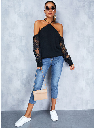Cold Shoulder Long Sleeves Regular Solid Sexy Pullovers