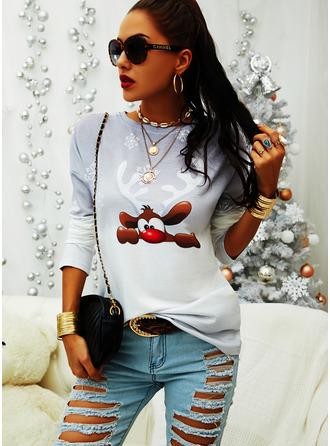 Round Neck Long Sleeves Regular Christmas Animal Print Gradient Christmas Sweatshirt