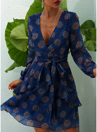 Print A-line V-Neck Long Sleeves Midi Casual Skater Dresses