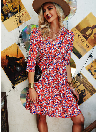 Floral Print Shift V-Neck Long Sleeves Midi Casual Elegant Tunic Dresses