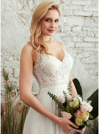 A-Formet V-hals Gulvlengde Brudekjole med Splittet Front