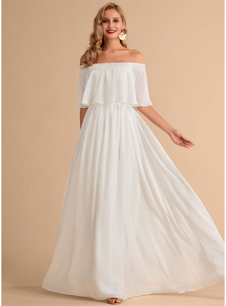 Off the Shoulder Short Sleeves Maxi Dresses