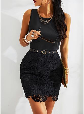 Lace Bodycon Round Neck Sleeveless Midi Casual Elegant Little Black Dresses