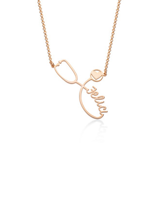 Custom 18k Rose Gold Plated Letter Twist Name Necklace With Heart - Birthday Gifts