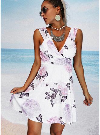 Floral Print Sheath V-Neck Sleeveless Midi Casual Vacation Dresses