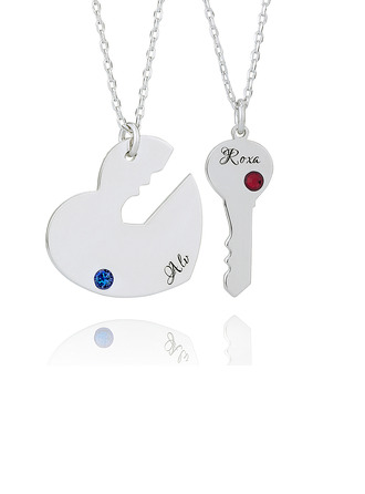 Custom Silver Heart Key Couple Birthstone Necklace Engraved Necklace - Birthday Gifts Mother's Day Gifts